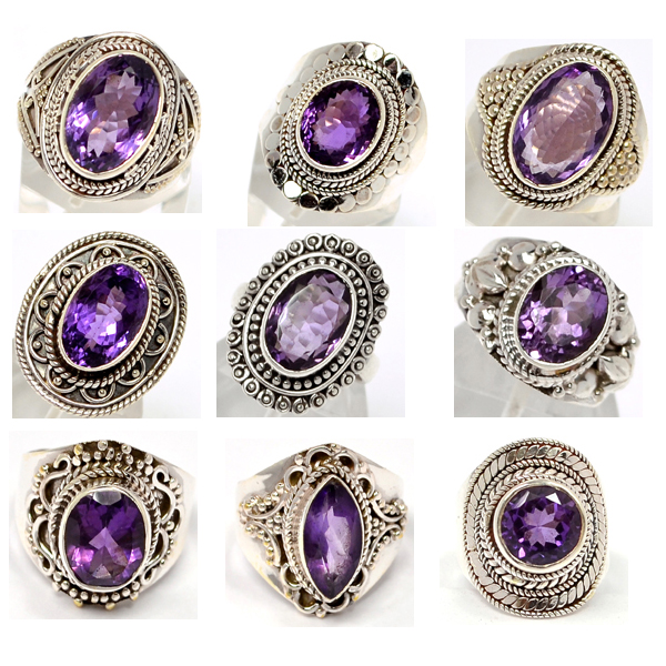 Item #amethyst silver gemstone rings-101. Wholesale Price: US$ 180 per lot of 9 rings (We charge wholesale prices , Retail price in Your market is much ...