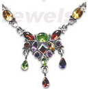 wholesale gemstone studded silver necklace