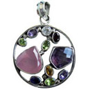 wholesale silver pendants studded with semiprecious gemstone